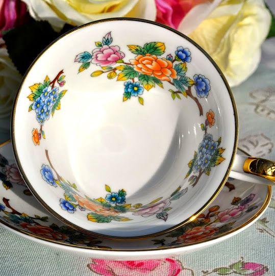 Sheltonian Bone China Vibrant Florals Teacup and Saucer