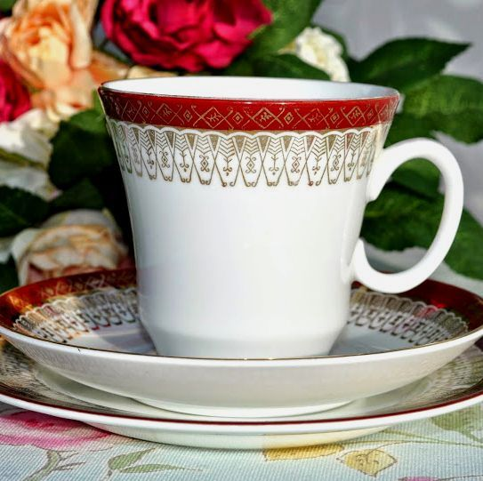 Royal Grafton Majestic Red and Gold Teacup Trio c.1950's