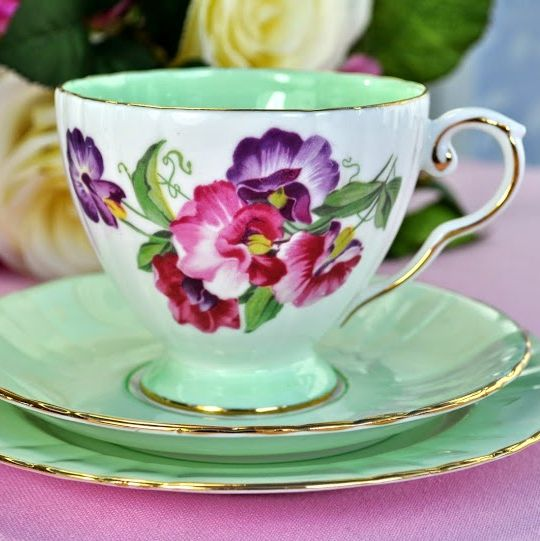 Royal Grafton Sweet Pea Vintage China Teacup Trio c.1950's