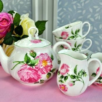 Rosina China Mottisfont Roses Tea Set for Two