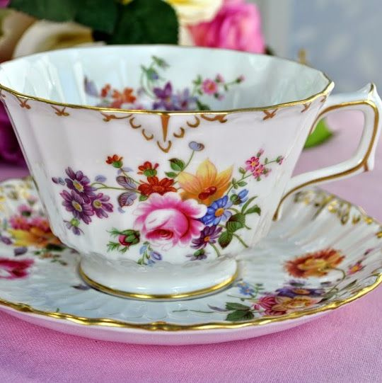 Royal Crown Derby Posies China Breakfast Teacup and Saucer c.1960's