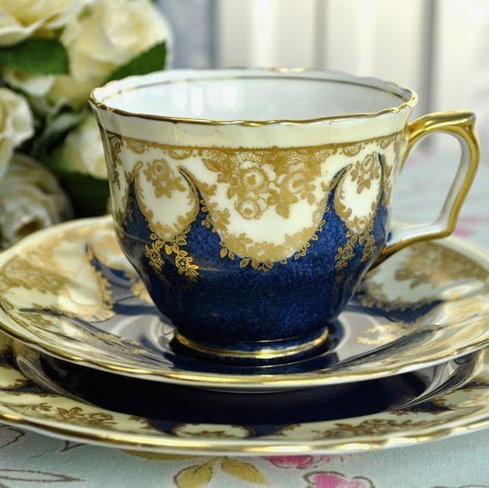 Antique Crown Staffordshire Blue and Gold China Teacup Trio c.1906+