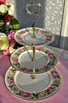 Royal Worcester Royal Garden Elgar Pattern Vintage Bone China 3 Tier Cake Stand