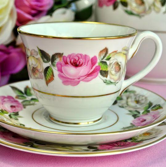 Royal Worcester Royal Garden Elgar Pattern Vintage Bone China Teacup Trio
