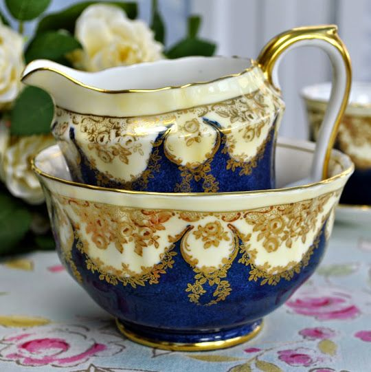 Antique Crown Staffordshire Blue and Gold Jug and Sugar Bowl