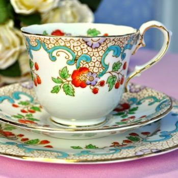 Thomas Poole, Royal Stafford Hand Painted Teacup Trio c.1930s