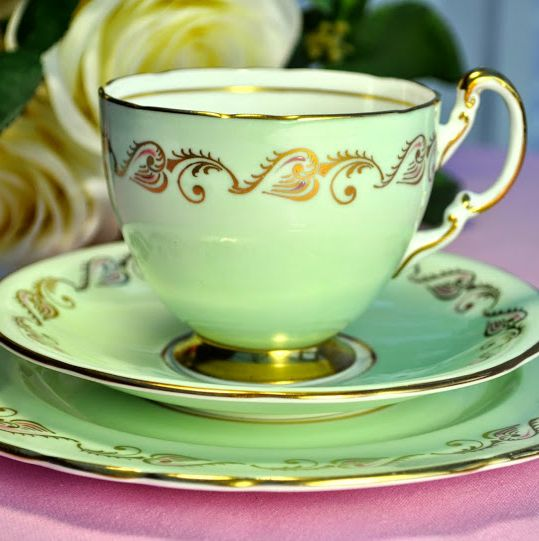 Aynsley Pale Green, Gold and Pink Vintage Teacup, Saucer and Tea Plate