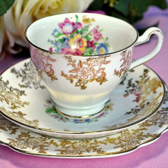 Rosina Floral and Gold Vintage Teacup, Saucer and Tea Plate c.1950s