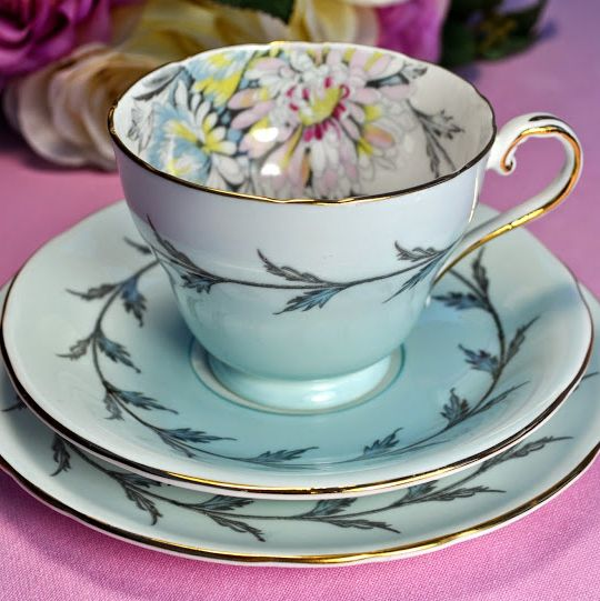 Aynsley Chrysanthemum Pale Blue Vintage Teacup, Saucer and Tea Plate