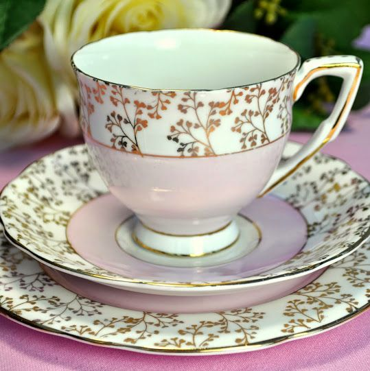 Gladstone Pink and Gold Vintage Teacup, Saucer and Tea Plate c.1946+