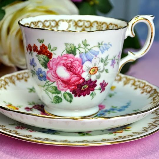 Crown Staffordshire England's Bouquet Fine Bone China Tea Trio