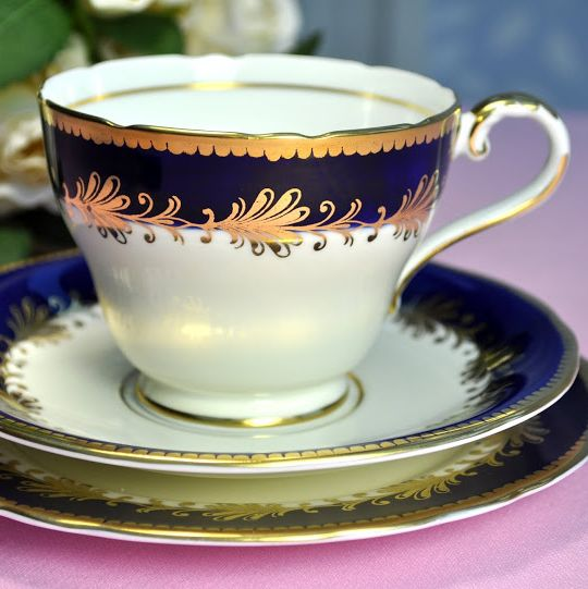 Aynsley Royal Blue and Gold Vintage Teacup, Saucer and Tea Plate