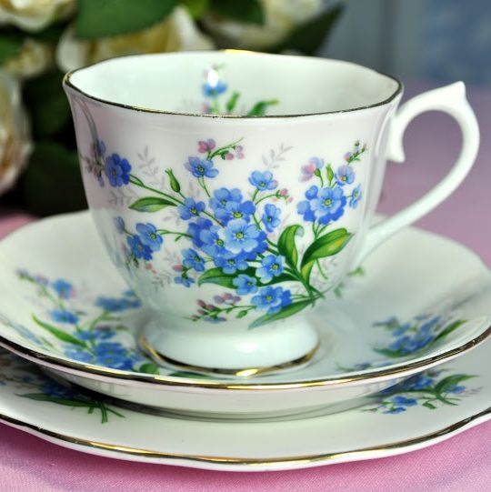 Royal Albert Forget-Me-Not Vintage Teacup, Saucer and Tea Plate