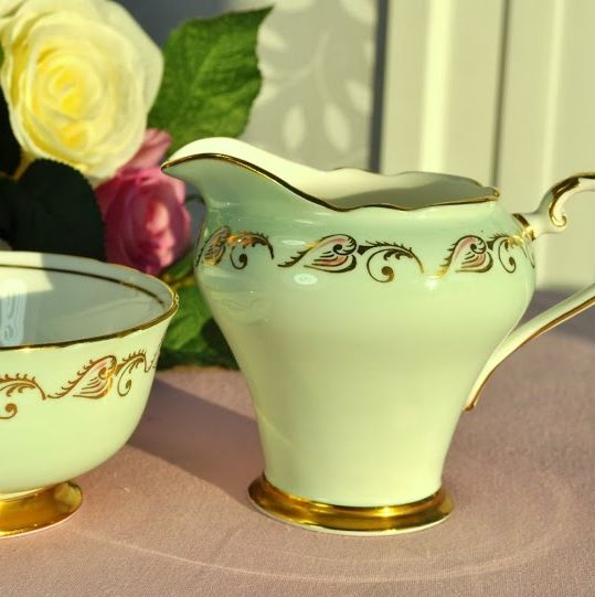 Aynsley Pale Green, Gold and Pink Vintage Cream Jug and Sugar Bowl