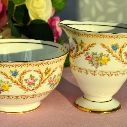 Crown Staffordshire Floral Hand Painted Vintage Milk Jug and Sugar Bowl