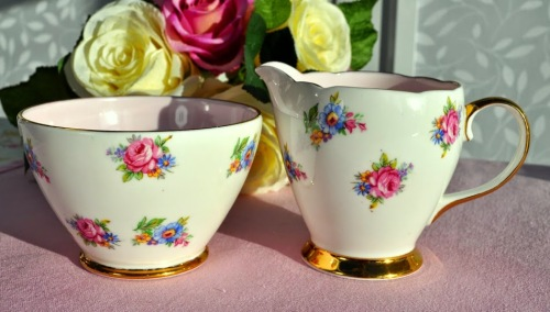 Royal Tron Pink and Floral Vintage Fine Bone China Milk Jug and Sugar Bowl