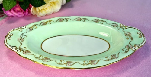 Aynsley Pale Green, Gold and Pink Vintage Biscuit Tray