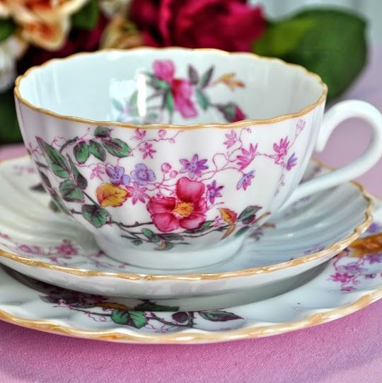 Spode Copelands Antique China Floral Teacup, Saucer, Tea Plate Trio c.1900'