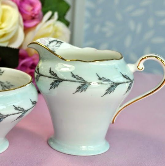 Aynsley Chrysanthemum Pale Blue Vintage Milk Jug and Sugar Bowl