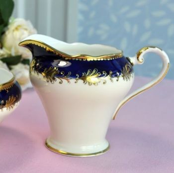 Aynsley Royal Blue and Gold Vintage Milk Jug and Sugar Bowl