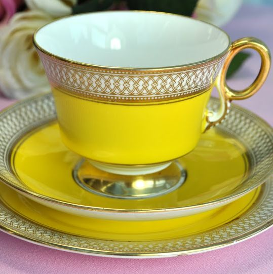 Adderley Fine Bone China Yellow and Gold Teacup Trio c.1960's