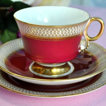 Adderley Fine Bone China Red and Gold Teacup Trio c.1960's