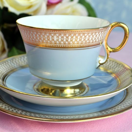 Adderley Fine Bone China Pale Blue and Gold Teacup Trio c.1960's