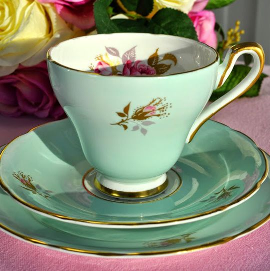 Sutherland Vintage China Duck Egg Blue and Pink Rose Teacup Trio c.1947