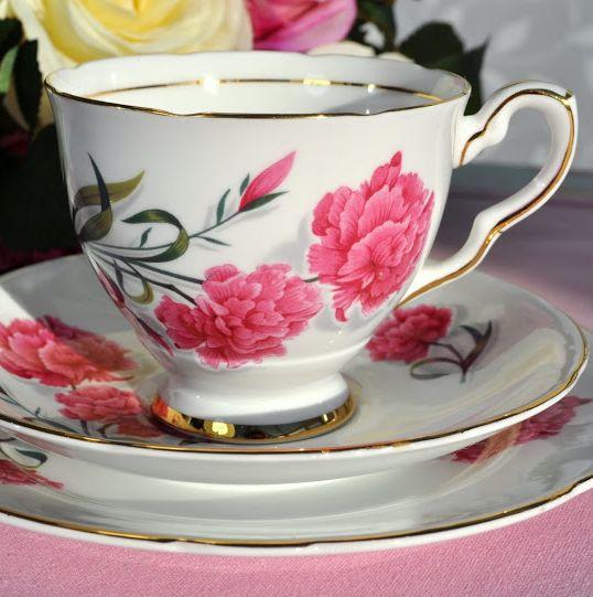 Royal Stafford Carnation Vintage Bone China Teacup, Saucer and Tea Plate