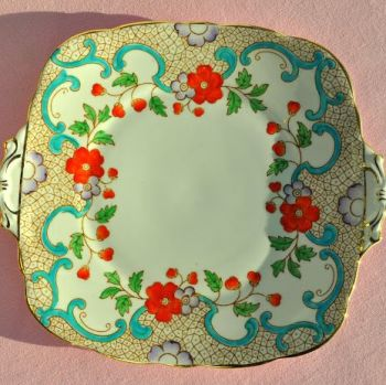Thomas Poole, Royal Stafford Hand Painted Cake Plate c.1930s