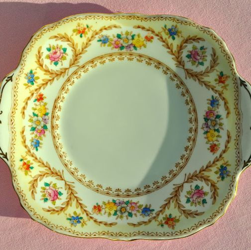 Crown Staffordshire Floral Hand Painted Vintage Cake Plate c.1930's