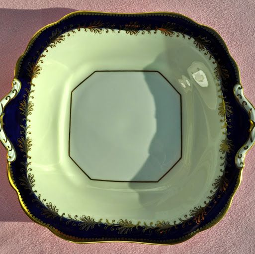 Aynsley Royal Blue and Gold Vintage China Cake Plate