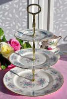 Colclough Coppelia Pastel Blue and Pink 3 Tier Cake Stand