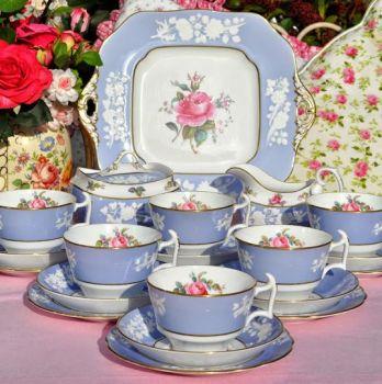Spode Copeland Maritime Rose Vintage Bone China Tea Set c.1950's