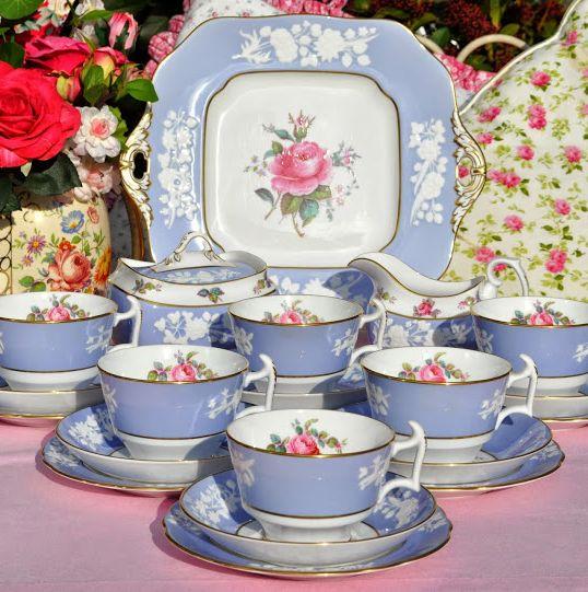 Spode Copeland Maritime Rose China Tea Set c.1950's