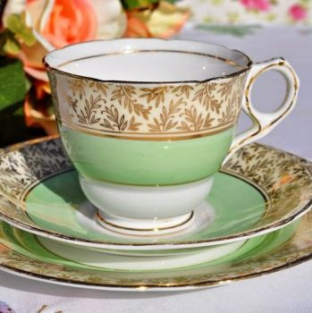 Royal Stafford Gold and Green 1950's Teacup Trio