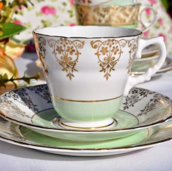 Sutherland Green Band and Gold Filigree 1940's Teacup Trio