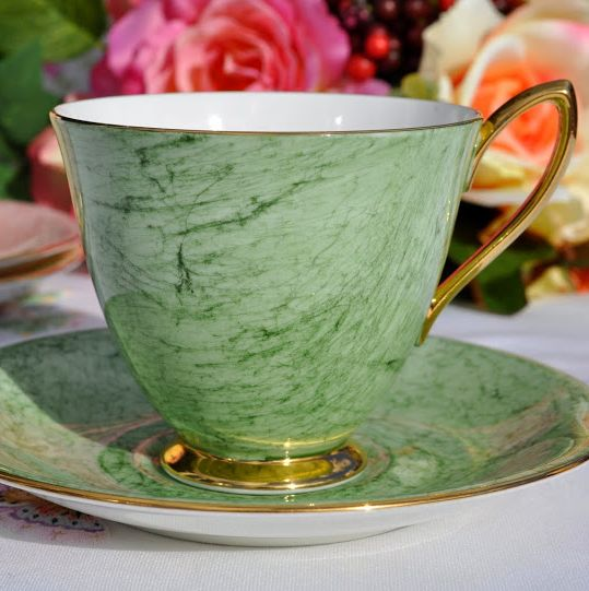 Royal Albert Gossamer Green China Teacup and Saucer c.1950's
