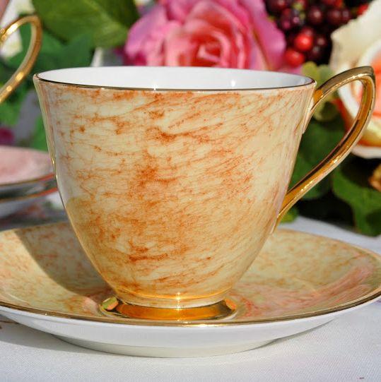 Royal Albert Gossamer Amber China Teacup and Saucer c.1950's