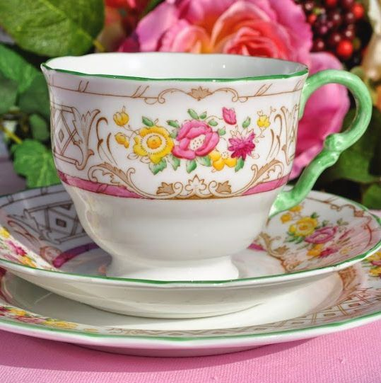 Adderleys Chiltern A1331 Bone China Hand Painted Vintage Tea Trio