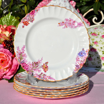 Spode Chelsea Garden Antique Lusterware Plates Set c.1891+