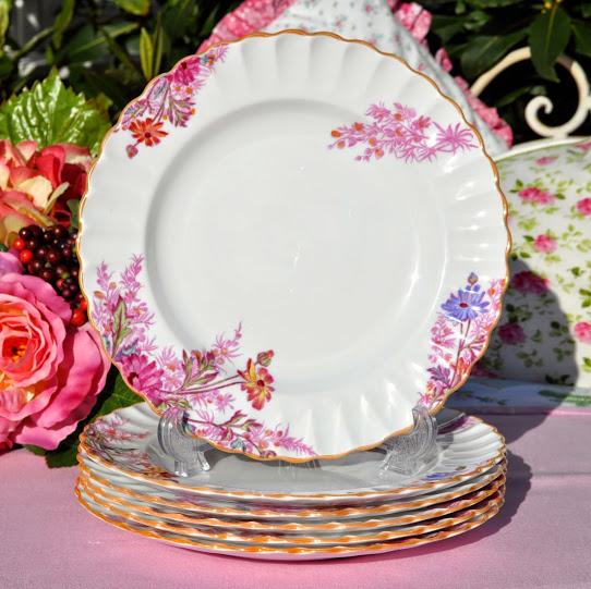 Spode Chelsea Garden Antique Lusterware Plates Set c.1891+