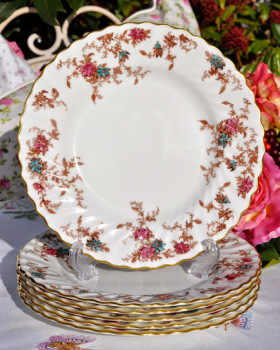 Minton Ancestral S-376 Pattern 20cm China Plates x 6 c.1950's