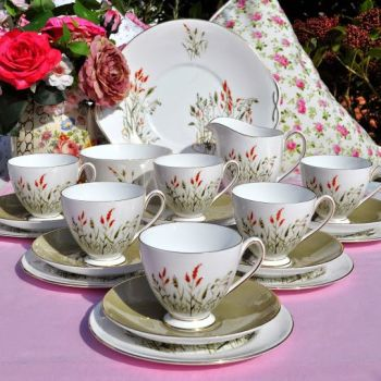 Queen Anne Nymph Bone China 21 Piece Vintage Tea Set c.1960s