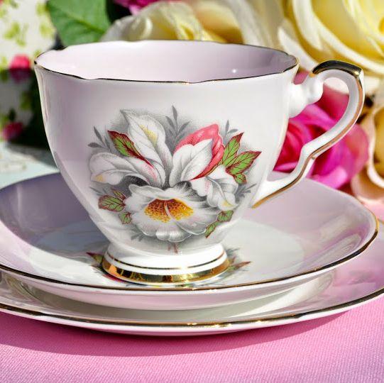 Royal Stafford White Lady Pink Vintage Tea Trio