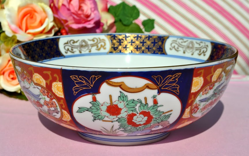 Gold Imari Hand Painted Decorative Bowl C 1959 84