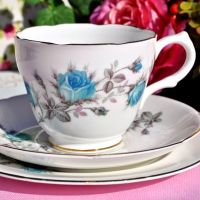 Royal Grafton Blue Rose Teacup Trio c.1950s