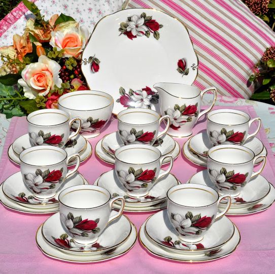 Duchess Vintage Bone China Tea Set for Eight with Cake Plate