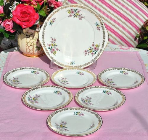 Royal Grafton Vintage Fine Bone China Cake Serving Set c.1957