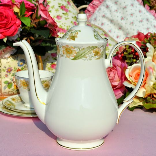 Duchess Greensleeves English China 2 Pint Teapot or Coffee Pot c.1950s